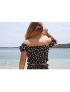 Ocean Drive Fashion Top Black Ditsy Floral