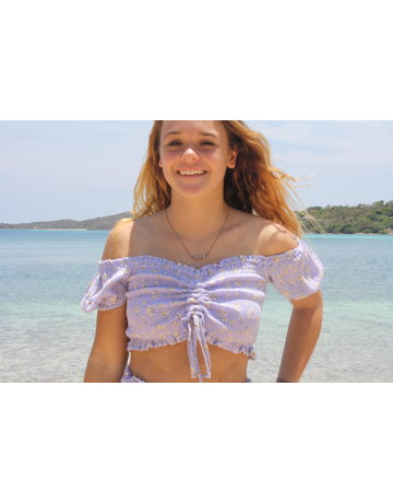 Ocean Drive Fashion Top Lilac Ditsy Floral
