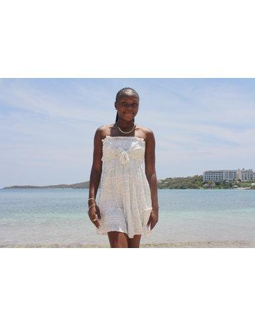 Ocean Drive Fashion Crinkle Dress White Bandana