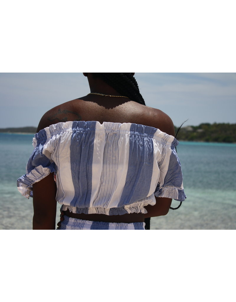 Ocean Drive Fashion Off Shoulder Top Paradise Stripe Print
