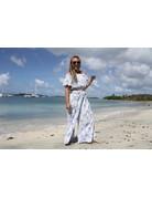 Ocean Drive Fashion Off Shoulder Top Fiji Blue Print