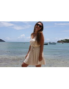 Ocean Drive Fashion Surplice Knit Dress Khaki/Ivory