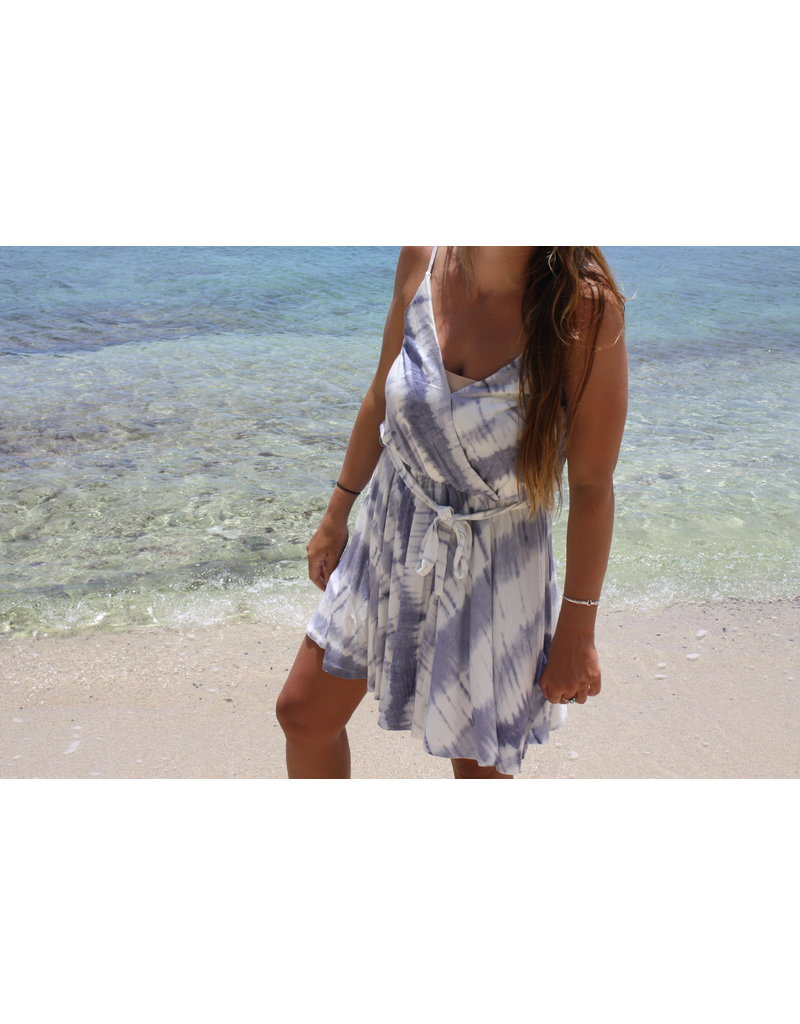 Ocean Drive Fashion Surplice Knit Dress Lavender/Navy Tie Dye