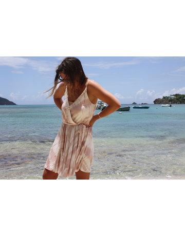 Ocean Drive Fashion Surplice Knit Dress Mauve Tie Dye
