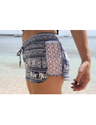 RS Side Lace Knit Elephant Short Blue