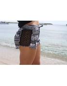 RS Side Lace Knit Elephant Short Black