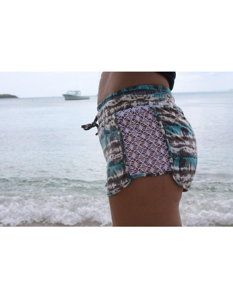 RS Side Lace Knit Tie Dye Short Aqua