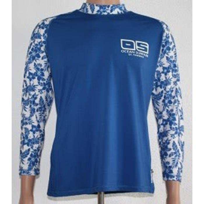 OS SPF 50+ Performance Floral Top Blue