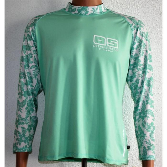 OS SPF 50+ Performance Women's Long Sleeve Floral Green
