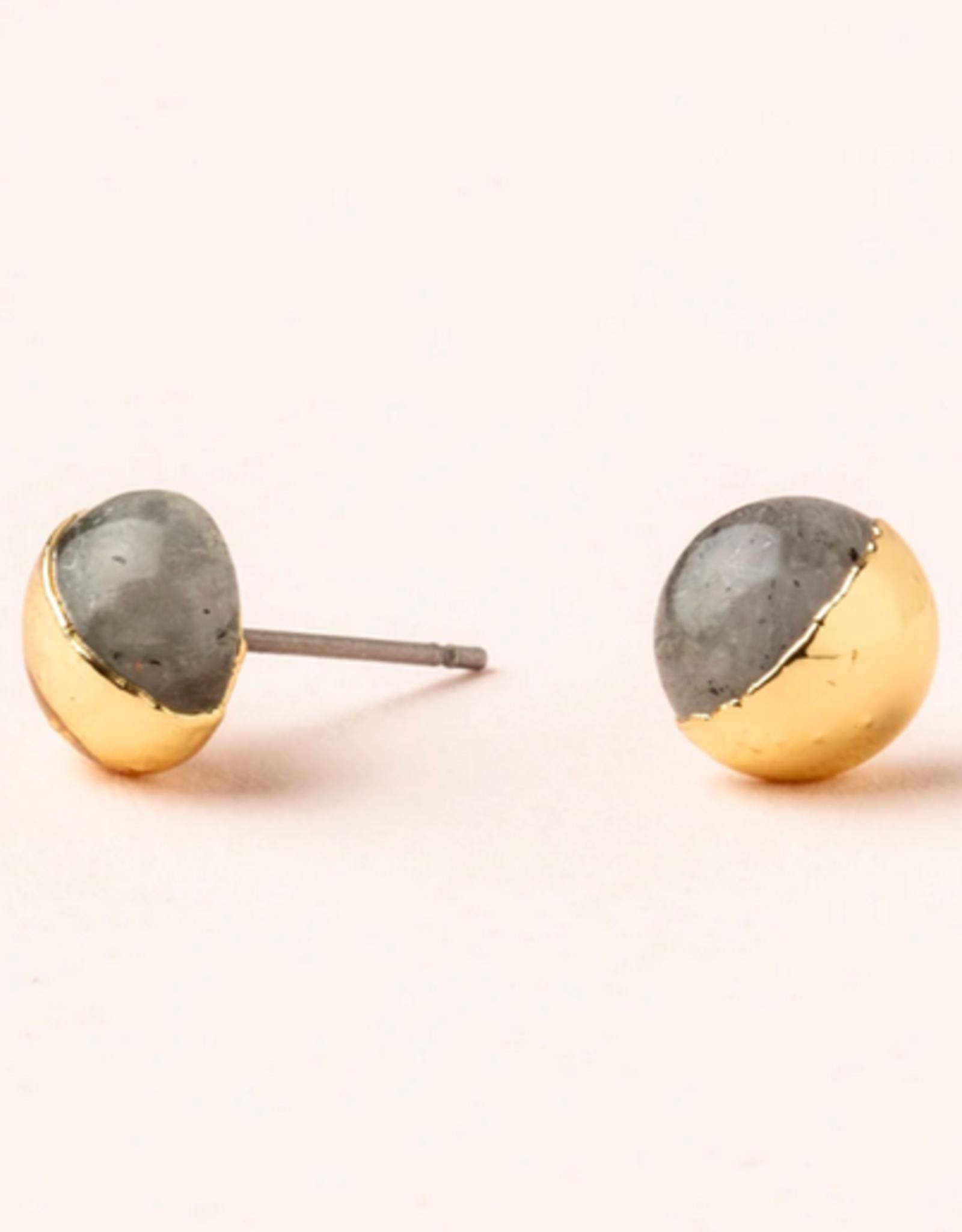 Scout Stone Dipped Studs - Labradorite