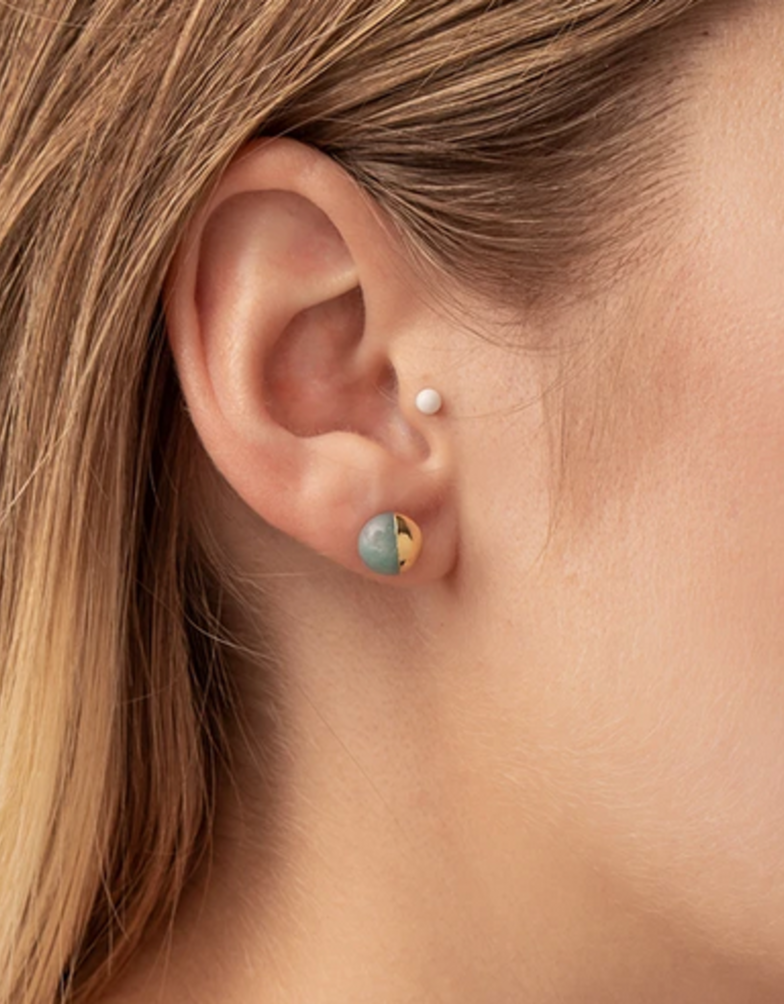 Scout Dipped  Stone Studs - Turquoise/Silver
