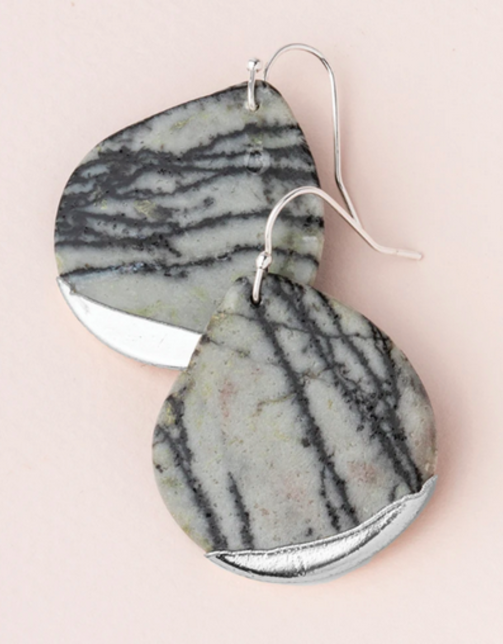 Scout Teardrop Dipped Earrings - PIcasso Jasper