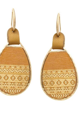 Textured Wood Teardrop Earrings