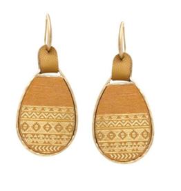Textured Wood Teardrop Earrings