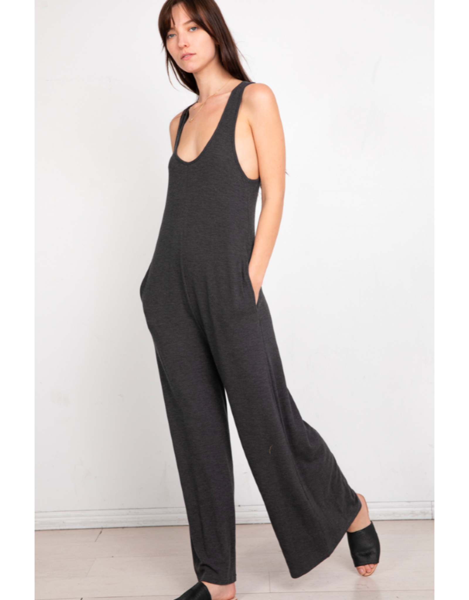 Ribbed Jumpsuit with Keyhole Back