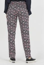 Flowered Print Straight Fluid Pants