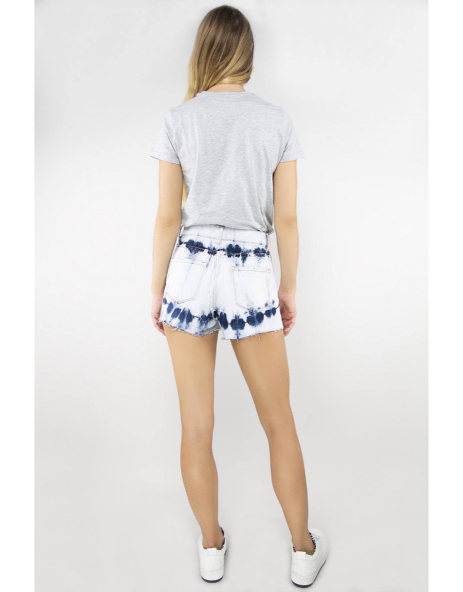 Distressed Tie Dye Shorts with Frayed Hem