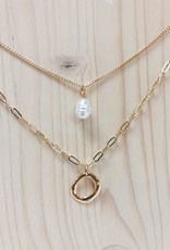Fresh Water Drop Pearl Double Necklace