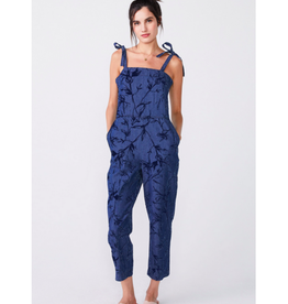 Print Denim Jumpsuit with Tie Shoulders