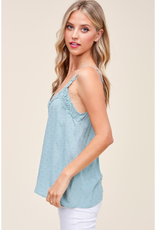 Embroidered V-Neck Cami - 2 Colors