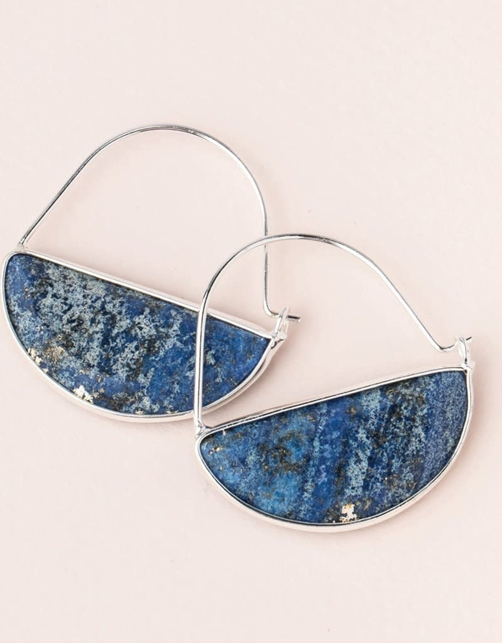 Scout Stone Prism Hoops - Lapis/Silver
