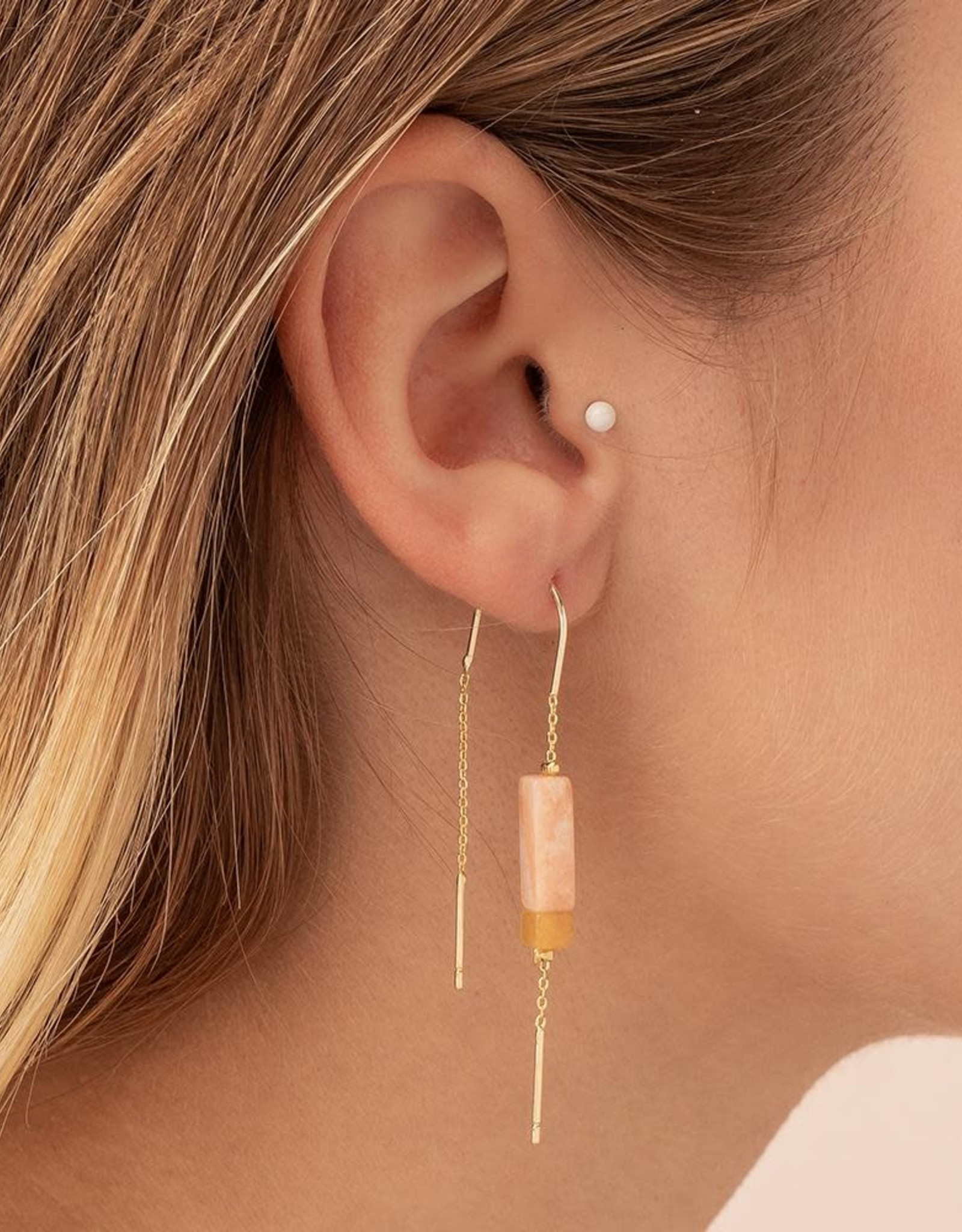Scout Stone Thread Earring - Rose Quartz/Amber