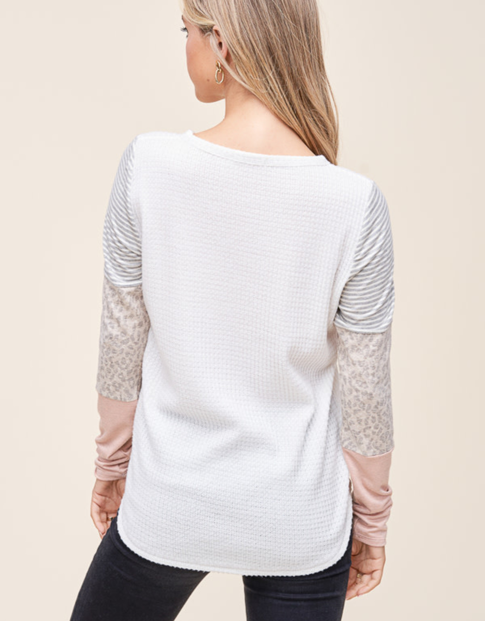 Long Sleeve Tee with Color Block Sleeves