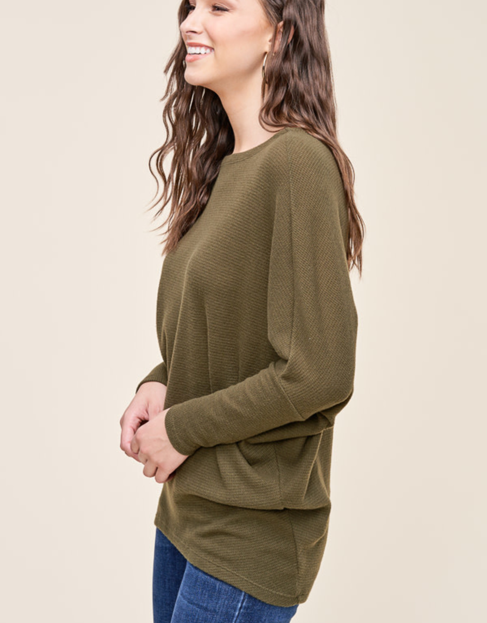 Boat Neck Top with Dolman Sleeves