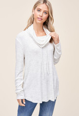 Cowl Neck Top with Drawstring Ties