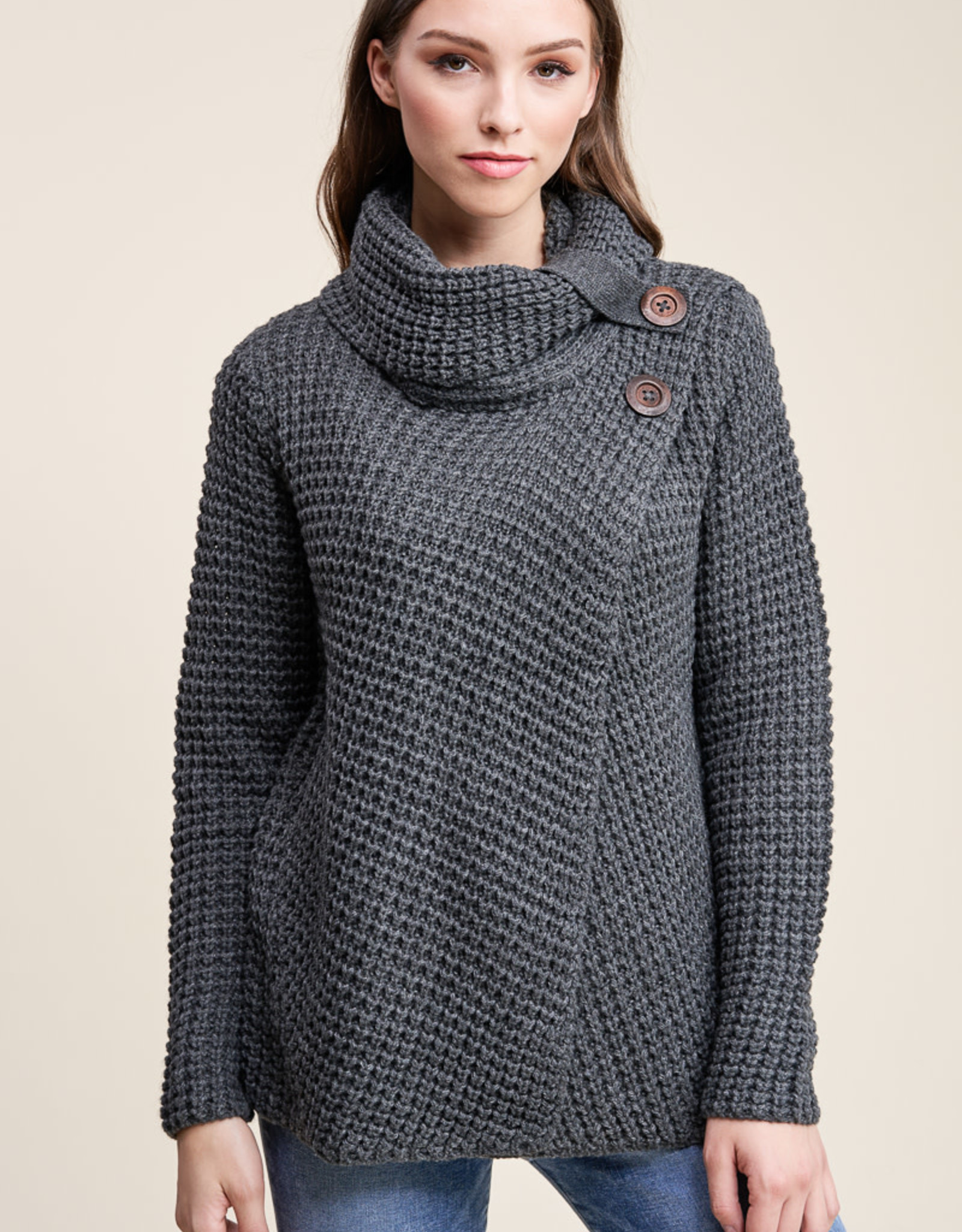 Turtleneck Sweater with Button Detail