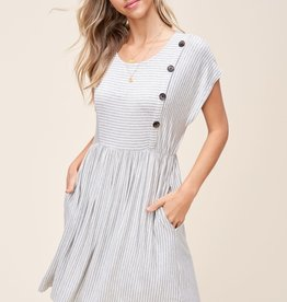 Striped Knit Dress with Button Detail