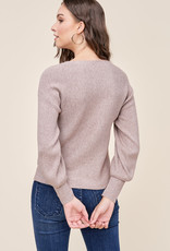 Horizonal Ribbed Pullover with Balloon Sleeves