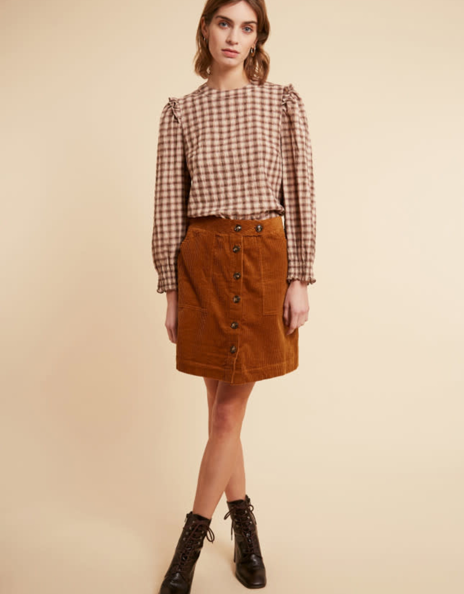 Front Button Corduroy Skirt