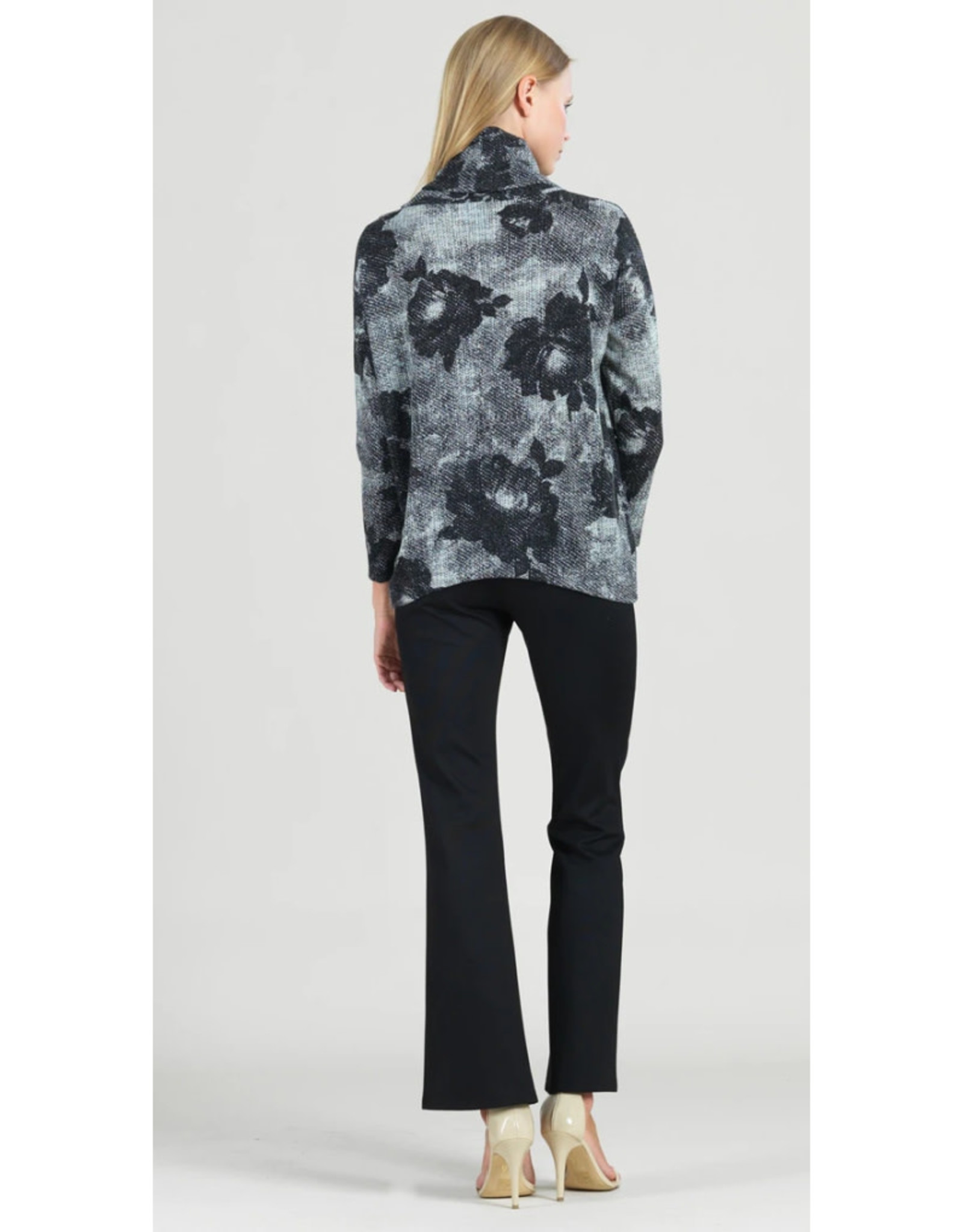 Print Turtleneck with Tipped Hem