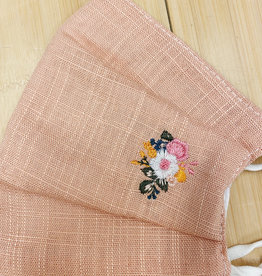 Face Mask with Embroidered Flower