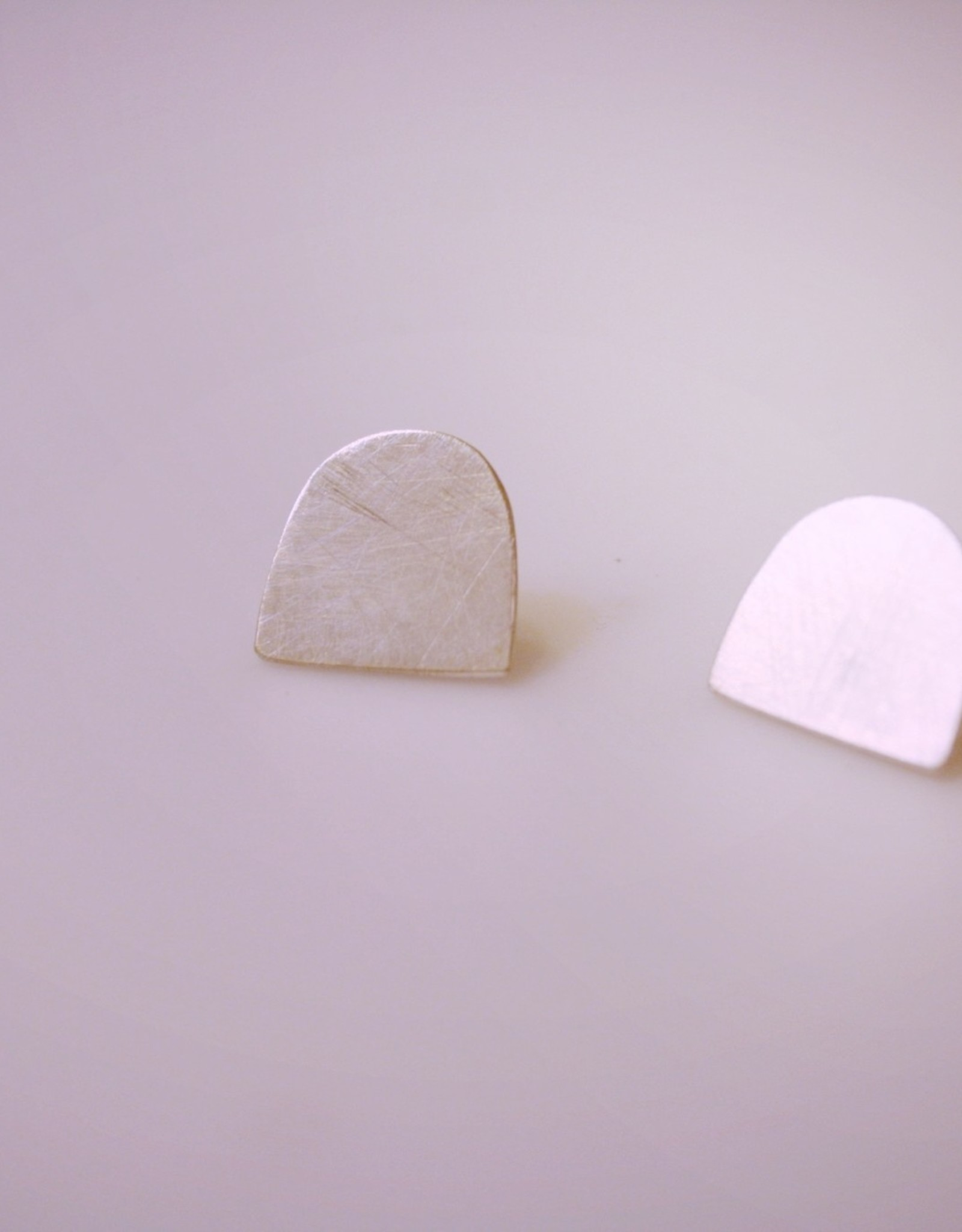 Dome Stud Earrings in Silver or Brass