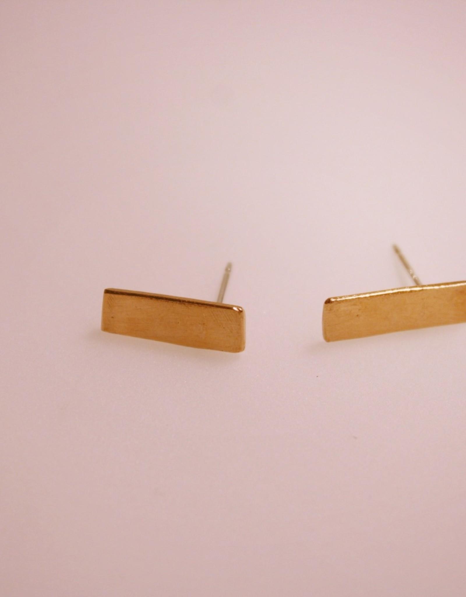 Rectangle Stud Earrings in Brass, Copper or Silver