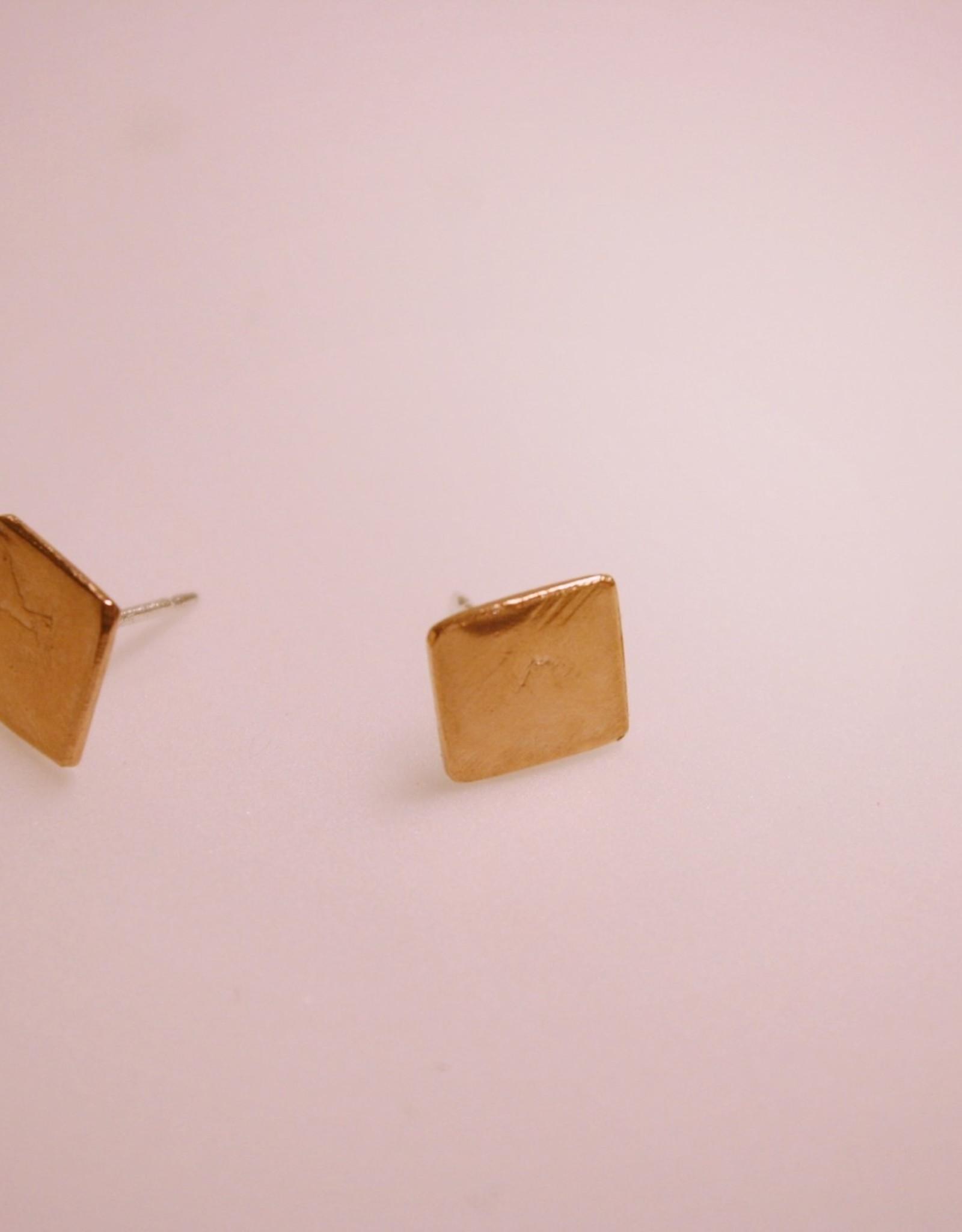 Copper Square Stud Earrings
