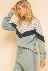 Leopard Print Combo Sweatshirt