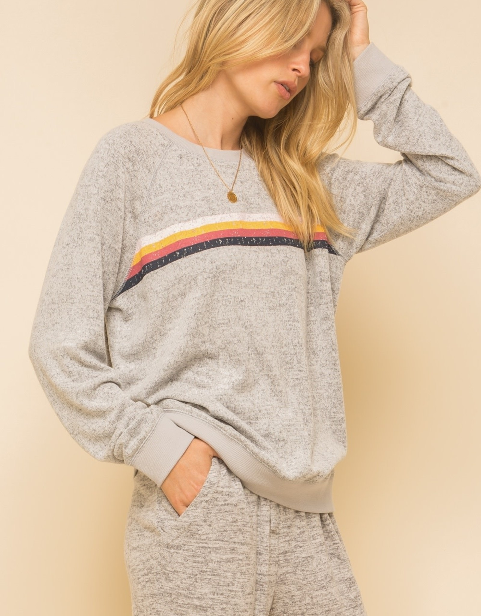 Brushed Hacci Sweatshirt with Stripes