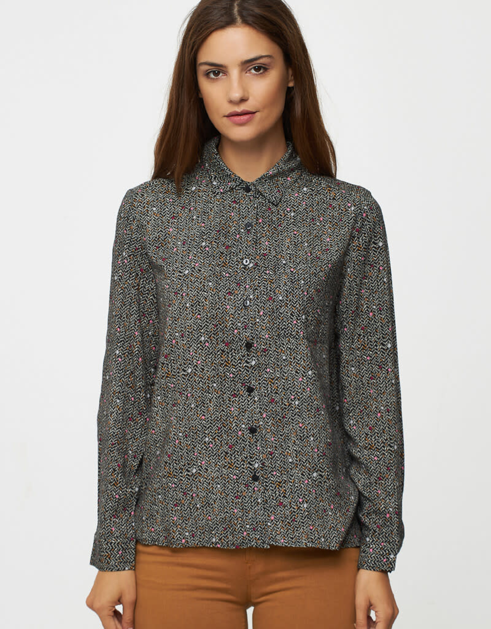 Print Blouse with Buttons