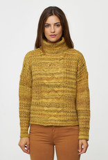 Cropped Cable Front Turtleneck Sweater
