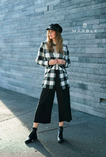 Open Long Checked Cardigan