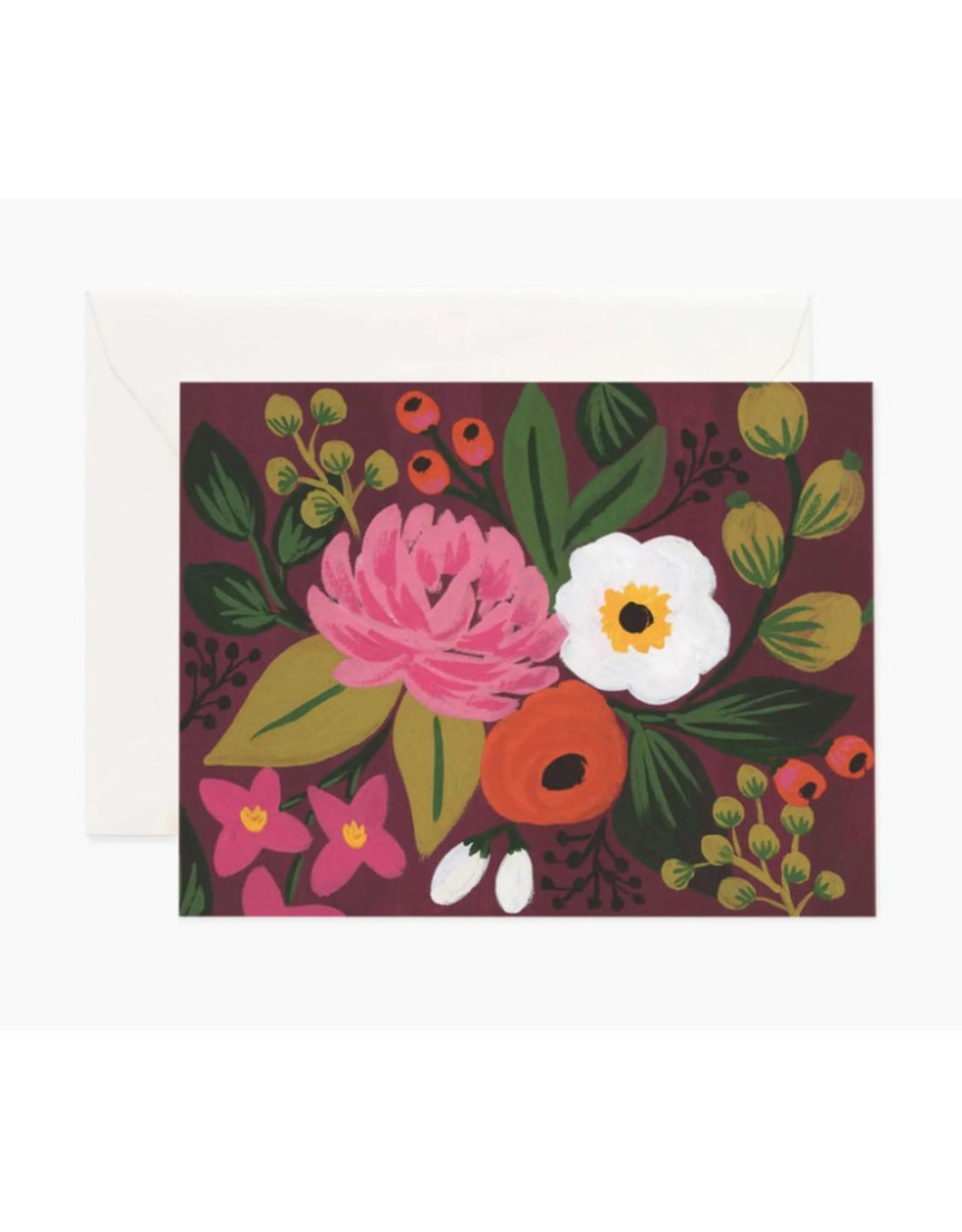 Vintage Blossoms Card - Burgundy