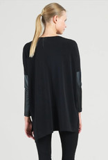 Knit Tunic with Leather Sleeves