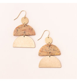 Scout Half Moon Earring Petrified Wood/Gold