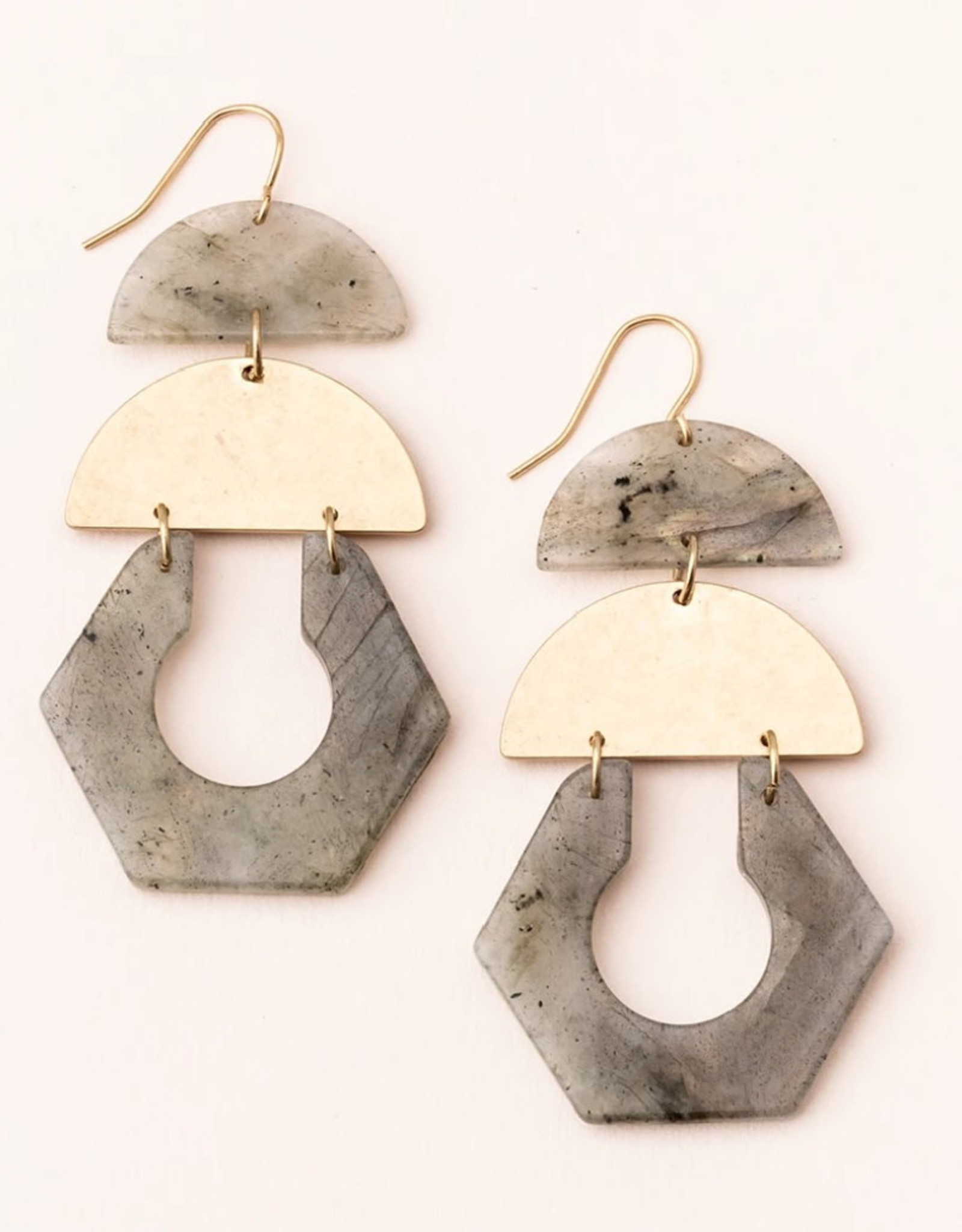 Scout Cutout Earring Labradorite/Gold