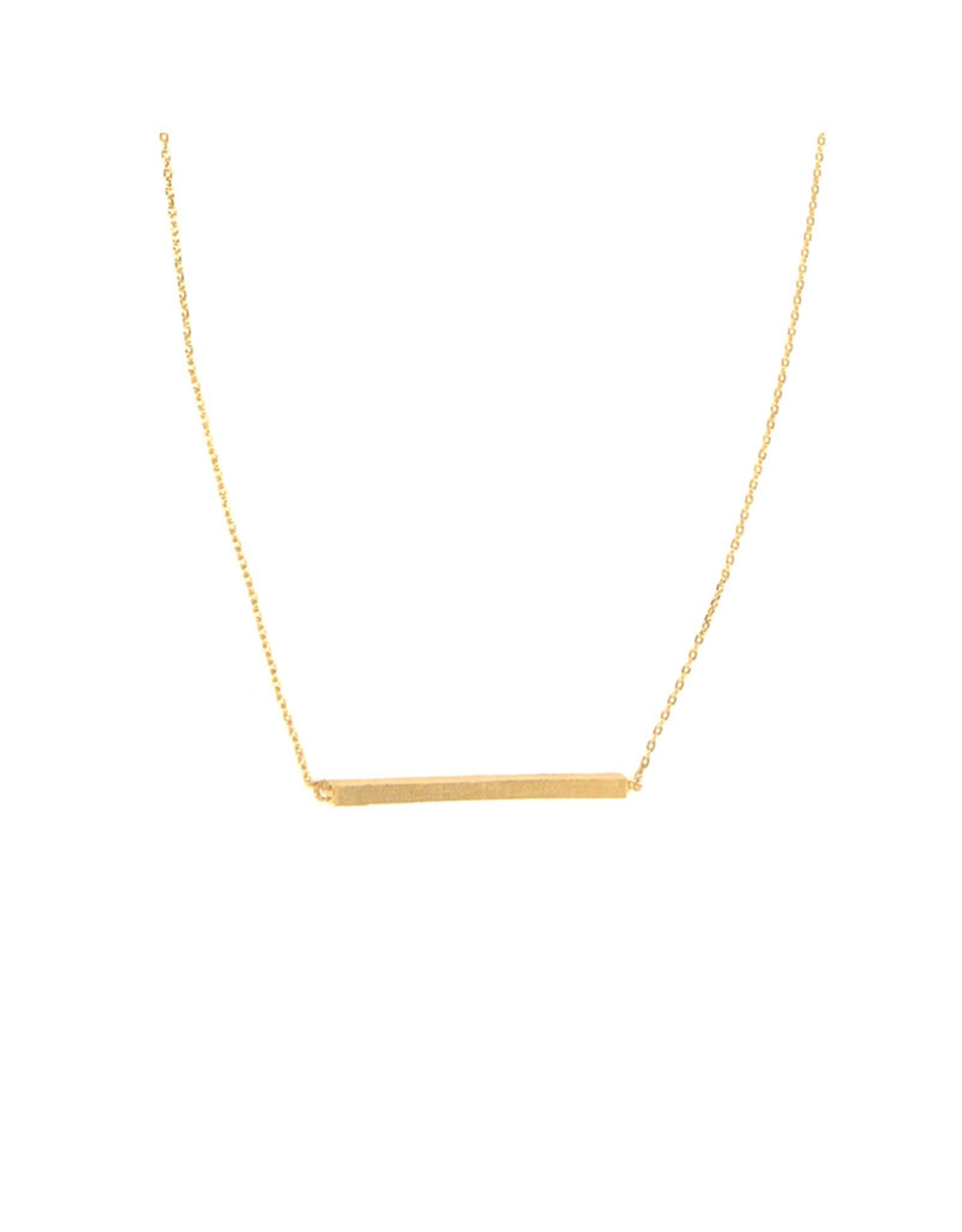 Gold Textured Bar Necklace