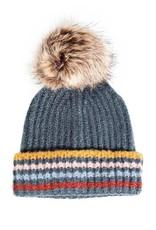 Stripe Pom Pom Hat in  3 Colors
