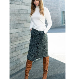 Asymmetrical Button Front Skirt